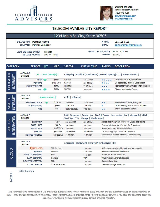Tenant Telecom Advisors: Telecom Access Report